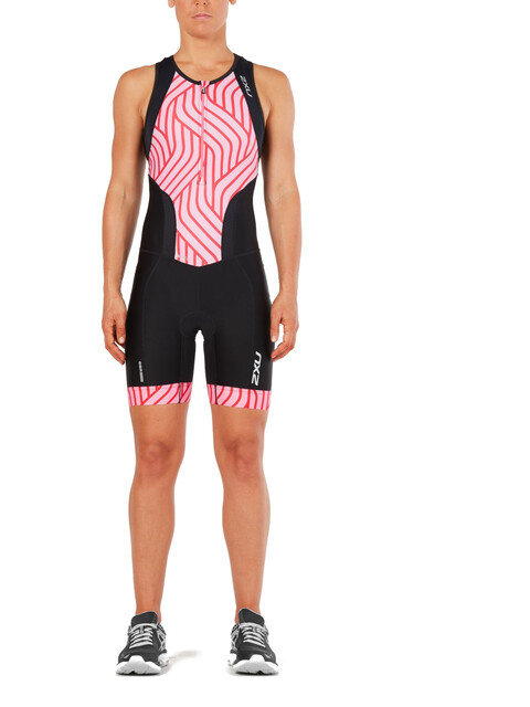 2XU Perform Front Zip Trisuit Women black/rose pink tide